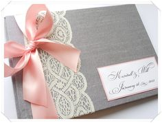 Silver Ivory and Light Pink wedding Guest Book in a vintage style. I like that color scheme! I could probably even get Carly to wear silver. Wedding Engagement, Diy Wedding, Dream Wedding, Wedding Day, Wedding Color Schemes, Wedding Colors, Wedding Stationary, Wedding Invitations, Origami