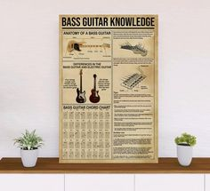 Bass Guitar Knowledge Version 1 Poster - 18x12inch