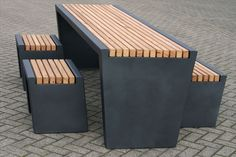 Picnic table / contemporary / hardwood / outdoor  CUBIC  Grijsen park & straatdesign