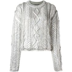 Filles A Papa 'Alba' sweater (20.030 ARS) ❤ liked on Polyvore featuring tops, sweaters, shirts, grey, grey shirt, metallic shirt, metallic top, viscose shirts and metallic sweater