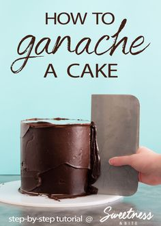 Learn how to make chocolate ganache, then how to use ganache boards to achieve smooth, straight sides on your cake, and super sharp ganache edges! A full step-by-step tutorial. #cakedecorating #ganache #tutorial
