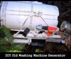DIY Old Washing Machine Generator - Powers an entire home. Including the fridge, 2 freezers, house lights, toaster toaster, kettle, PC, TV and even a 180 hot water heater by moorerichard59