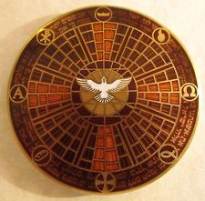 Lord's Prayer Geocoin - Daily Bread Edition - Tresspass Text - Glass on Metal