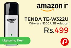 Amazon #LightningDeal is offering 60% off on TENDA TE-W322U #Wireless N300 USB Adapter Just at Rs.499. Wireless N technology, data rates up to 300Mbps, Supports soft AP to establish a WiFi hotspot, Provides 64/128-bit WEP, WPA/WPA2 encryptions, Auto-run in Windows OS, no driver is required, 3 years replacement warranty.   http://www.paisebachaoindia.com/tenda-te-w322u-wireless-n300-usb-adapter-just-at-rs-499-amazon/