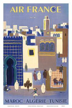 Air France - Maroc (Morocco) Algerie (Algeria) Tunisie (Tunisia) Affiche par Bernard Villemot
