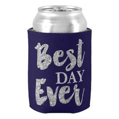 Silver Glitter Best Day Ever Wedding Favors Can Cooler