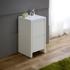 Superior White High Gloss Slim 2 Drawer Bedside Table