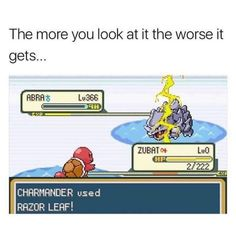 A Ryhorn on the water, being hit by a thundershock (actually impossible), battling with a red Squirtle named Zubat. The message is that the red Squirtle (on the message named Charmander) is casting razor leaf, that isn't water nor fire elemental move. Pokemon Memes, Pokemon N, Pokemon Funny, Pokemon Fusion, Pokemon Cards, Pokemon Pictures, Funny Pictures, Video Game Memes, Fresh Memes