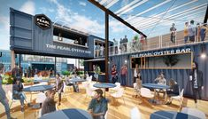 Shipping Container Restaurant, Shipping Containers, Outdoor Restaurant Patio, Restaurant Exterior, Food Court Design, Small Restaurant Design, Spanish Fort, Container Design, Container Houses