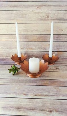 $55 Lotus Flower Candle Holders  Bohemian Candle Holders  Copper