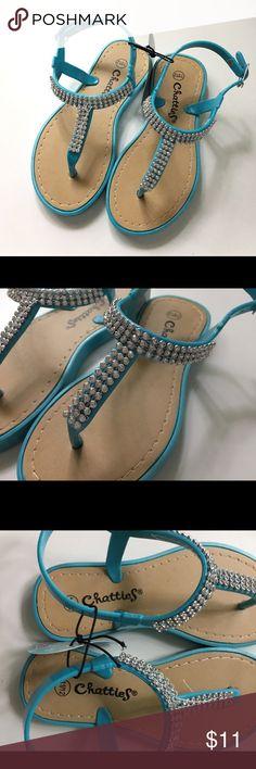 Chatties Aqua Blue Rhinestone Sandals Girls 11/12 Chatties Aqua Blue Rhinestone Sandals. Girls size 11/12. Brand new with tags. Chatties Shoes Sandals & Flip Flops
