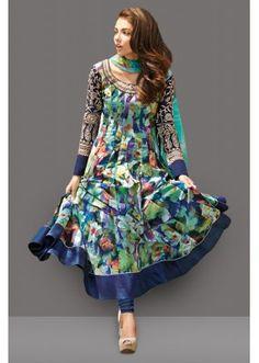 Ethnic Wear Multicolour French Crepe Anarkali Suit  - 71000