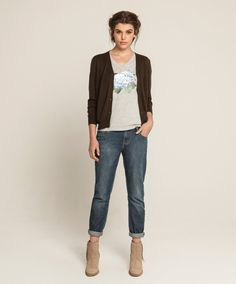 Violet V T - Hydrangea - Grey Marle, Cashmere Bamboo Classic Cardigan - Khaki, Girlfriend Jean - Soft Vintage Wash