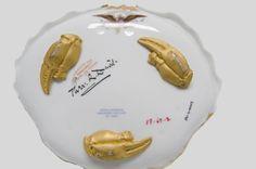 Seafood Salad Plate, reverse showing lobster claw feet.  Haviland et Cie, Limoges, France, c. 1880. / Porcelain with enamel, chromolithograph and gilt decoration