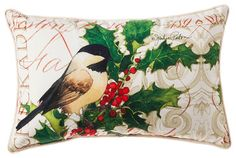 Winter Chickadee Decorative Outdoor Lumbar Pillow traditional-holiday-accents-and-figurines