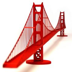 Golden Gate Bridge paper model kit with pre-cut by PaperLandmarks