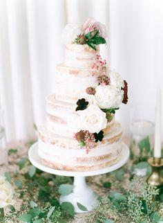 Romantic floral covered naked cake: http://www.stylemepretty.com/california-weddings/2016/01/21/an-event-coordinators-dreamy-organic-romantic-backyard-wedding/ | Photography: Daphne Mae - http://www.daphnemaephotography.com/