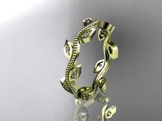 14k yellow gold diamond leaf and vine wedding ring,engagement ring,wedding band
