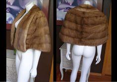 .Vintage 1950s Caramel Mink Fur Stole Cape Capelet Wrap Shrug Jacket Shawl Wedding Fur by WestCoastVintageRSL, $138.00