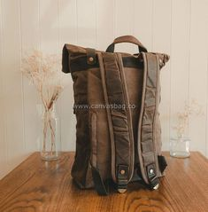 Leather Canvas Backpack (14) Leather Backpack For Men, Leather Laptop Bag, Leather Bag, Canvas Backpack, Laptop Backpack, Golf Bags, Travel Bags, Best Gifts For Her, Waterproof Backpack