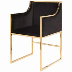 A sleek and stunning silhouette adds a modern accent to any living or dining room. Polished brass in open geometric shapes shines in brilliant balance with plush black velvet upholstery. This artistic armchair brings comfort and warmth with Hollywood Regency panache.