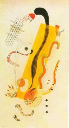 The sound of colors is so definite that it would be hard to find anyone who would express bright yellow with bass notes or dark lake with treble. Kandinsky Prints, Kandinsky Art, Wassily Kandinsky Paintings, Abstract Words, Abstract Art, Abstract Landscape, Cavalier Bleu, Mellow Yellow, Bright Yellow
