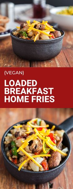 A plate of Loaded Home Fries is the perfect way to start your weekend! Serve up this easy breakfast side dish the whole family will love. This vegan breakfast recipe is gluten free and dairy free. #veganbreakfast #glutenfree #dairyfreerecipe Vegan Breakfast Recipes, Vegetarian Recipes, Brunch Recipes, Vegetable Recipes, Snack Recipes, Entree Recipes, Side Dish Recipes, Dairy Free Recipes, Gluten Free