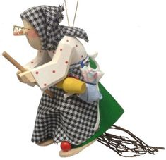 Polka Dot Kitchen Witch Riding a Broom German Wood Halloween Ornament Germany