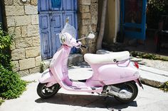 Baby pink moped