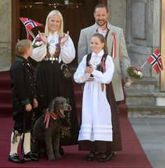 Crown Prince Haakon, Crown Princess Mette- Marit, Princess Ingrid Alexandra and Prince Sverre Magnus of Norway attend the celebration of the Norwegian National Day at the Norwegian Royal Residence Skaugum on May 17, 2016 in Oslo, Norway.