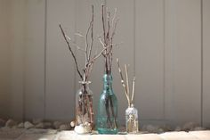 DIY Oil Diffuser! in glass bottles add drops of t essential oil and fill t up with warm water and dried twigs/sticks branches(they draw up the water naturally) are put in.