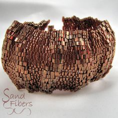WIDE Large African Sunset  Ripples Peyote Cuff / Peyote Bracelet (2617) - A Sand Fibers Made-to-Order Creation. $69.00, via Etsy.