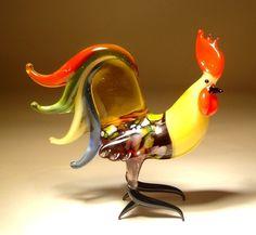 """Blown Glass """"Murano"""" Animal Art Figurine Bird Chicken Fighter ROOSTER   eBay"""