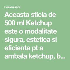 Aceasta sticla de 500 ml Ketchup este o modalitate sigura, estetica si eficienta pt a ambala ketchup, bulion, sosuri de diverse tipuri, sau chiar sucuri naturale atat la nivel industrial, cat si la nivel casnic. Pentru inchiderea perfect etansa a sticlei de ketchup de 500 ml recomandam capacul prefiletat Twist Off TO 43 deep mm, livrabil din sortimentatia noastra de capace filetate. Atentie: pretul sticlei nu include capacul ! Capacitate: 500 ml Inaltime: 212 mm Diametrul (max): 74 mm…