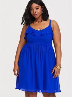 e0d659d270 Blue Chiffon Mini Dress, ELECTRIC BLUE Plus Size Mini Dresses, Plus Size  Skater Dress