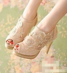 FREE SHIPPING Floral peep toe cute womens high heel shoes  from pinkified