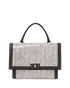 Shark Medium Snakeskin Satchel Bag, Black/White by Givenchy at Neiman Marcus.