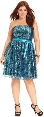 Blue Strapless Sequin Plus Size Homecoming Dress - http://prombelles.com/2013/10/09/blue-strapless-sequin-plus-size-homecoming-dress/