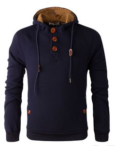 Henley Hoodie w/ Elbow Patches Navy                                                                                                                                                      More