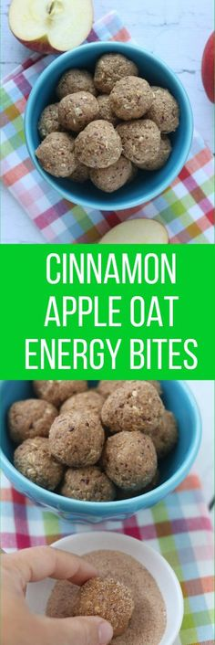 These Cinnamon Apple Oat Energy Bites are made with simple ingredients, are an excellent nutritious grab and go snack, and take only 10 minutes to make! Recipes Appetizers And Snacks, Easy Snacks, Yummy Snacks, Brunch Recipes, Sweet Recipes, Healthy Snacks, Snack Recipes, Healthy Recipes, Delicious Recipes