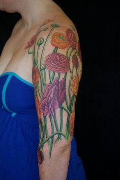Maybe stems instead of vines given the placement.  Love the flower mix in this!   Ranunculus 3/4 sleeve 07.22.13