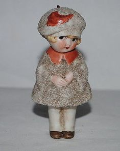 Description of this item old German snow baby doll, movable head I offer here this old German bisque snow baby doll Measurement: ca. 3-1/4 high Condition: very good, see pictures Vintage or Era: Germ