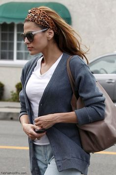 Eva Mendes street style with cardigan and animal print bandana