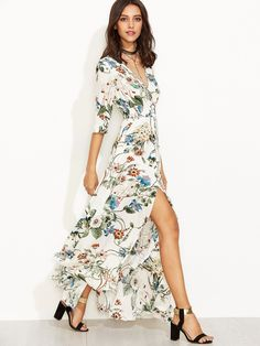 Fabric: Fabric has no stretch Season: Summer Type: Peasant Pattern Type: Floral, Print Sleeve Length: Half Sleeve Color: Multicolor Dresses Length: Long Style: Casual, Vacation, Boho Material: 100% Rayon Neckline: V Neck Silhouette: A Line Shoulder(Cm): S:35.5cm, M:36.5cm, L:37.5cm Bust(Cm): S:90cm, M:94cm, L:98cm Waist Size(Cm): S:58cm, M:62cm, L:66cm Length(Cm): S:140cm, M:141cm, L:142cm Sleeve Length(Cm): S:39cm, M:40cm, L:41cm Size Available: S,M,L