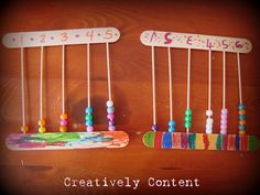 abacuses homemade with skewers, pony beads, popsicle sticks, and lots ...