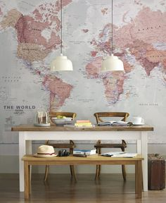 World map mural, love maps great art