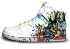 POKEMON SHOES!!! Pokemon eeveelution shoes :) by far my favorite shoes I have seen ❤  http://naughtynicekiel.files.wordpress.com/2011/06/pokemon-shoes2.jpg