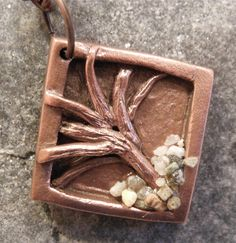Tree and Beach Pebbles necklace in rustic copper