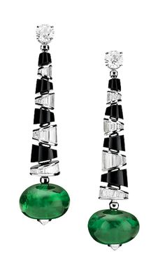 18k white gold, emerald, onyx & diamond earrings // bvlgari