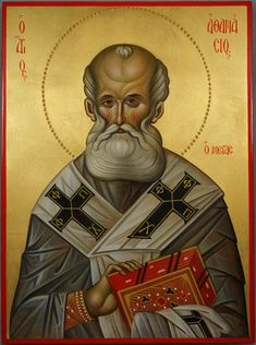 St Athanasius Patriarch of Alexandria - This is a premium quality icon made with pure 23kt gold leaf. Painted using traditional technique - egg tempera, solid lime wood panel with slats on the back, varnish, 23 karat gold leaf. About our icons BlessedMart offers hand-painted religious icons that follow the Russian, Greek, Byzantine and Roman Catholic traditions.  #blessedmart  #handpaintedicon  #stathanasius  #saintathanasius  #orthodoxy